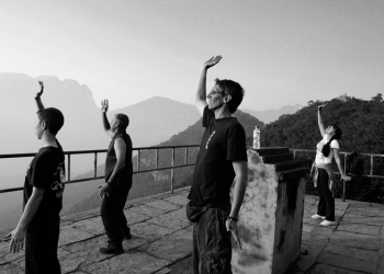 Lohan Qigong Practice on the Mountain Top at the Shaolin Temple China image
