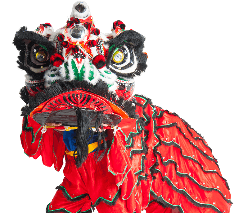 A photo of two lion dancers.